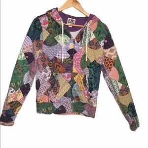 Lucky Brand Patchwork Paisley Floral Hoodie Boho